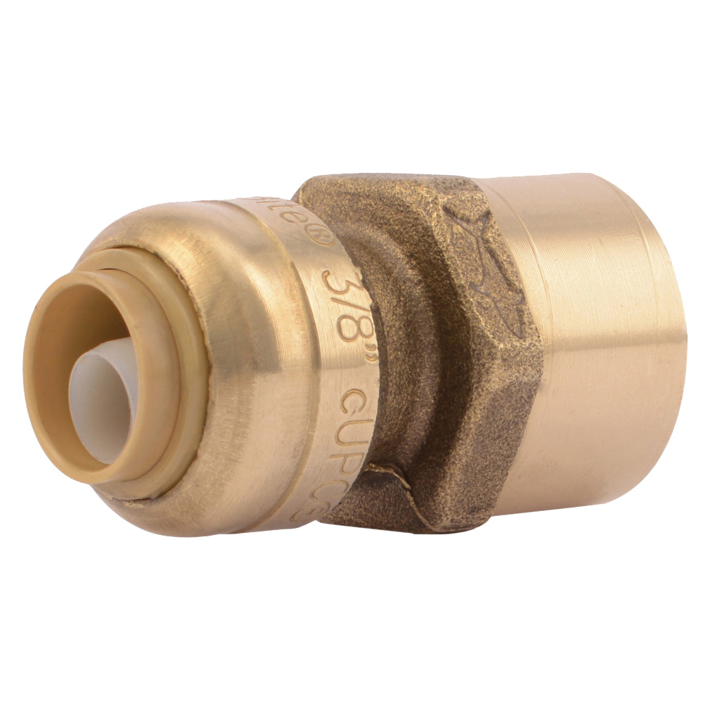 Picture of SharkBite U070LFA Pipe Connector, 3/8 x 1/2 in, FNPT x FNPT, Brass, 200 psi Pressure