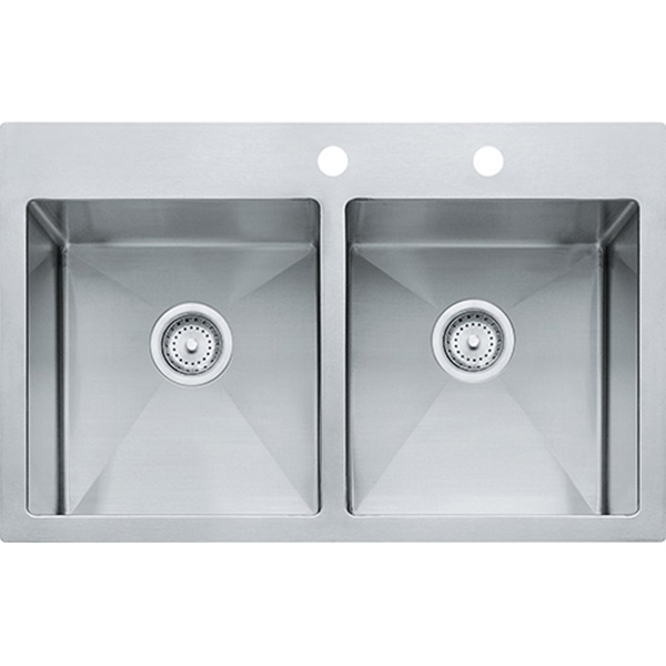 Picture of FRANKE Vector HF3322-2 Kitchen Sink, 22 in OAW, 9 in OAH, 33 in OAD, Stainless Steel, Polished Satin, Top Mounting