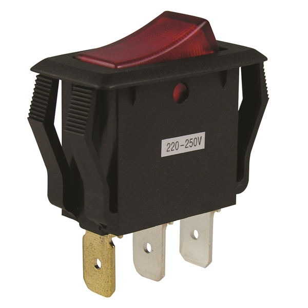Picture of GB GSW Series GSW-42 Rocker Switch, 8/16 A, 125/250 V, SPST, 0.55 x 1.125 in Panel Cutout, Nylon Housing Material