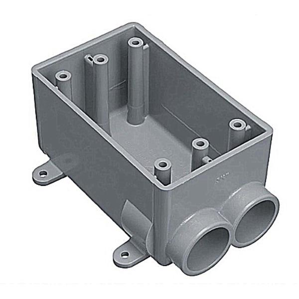 Picture of Carlon E982DFN-CTN Switch Box, 1-Gang, 2-Outlet, PVC, Gray