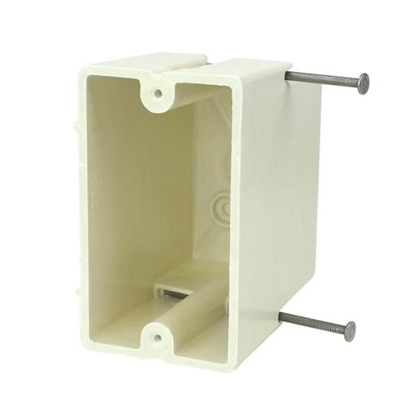 Picture of Allied Moulded FiberglassBOX 1099-N Electrical Box, 1-Gang, 2-Outlet, 4-Knockout, Beige/Tan