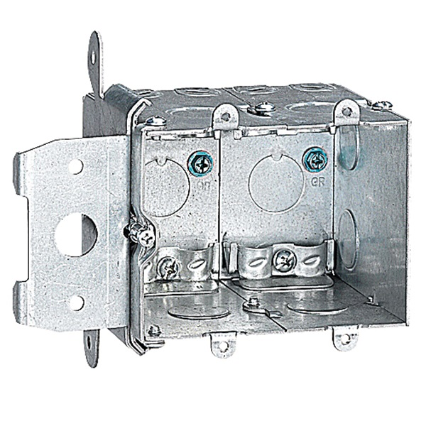 Picture of Steel City MB238ADJ Wall Box, 1-Outlet, 1-Gang, 8-Knockout, 1/2 in Knockout, Steel, Silver, Galvanized