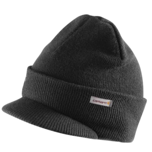 Picture of Carhartt A164-BLK Knit Hat with Visor, Men's, One-Size, Acrylic, Black