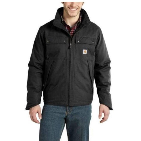 Picture of Carhartt 101492-001-L-T Jefferson Traditional Jacket, L, 42 to 44 in Chest, Cotton/Polyester, Black, Zipper Closure, Tall