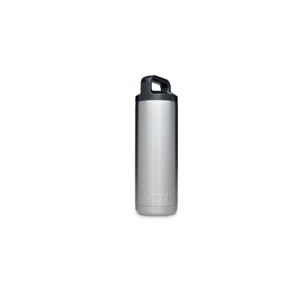 Picture of YETI Rambler 21070100001 Insulated Bottle, Round, 18 oz Capacity, Stainless Steel, Stainless Steel