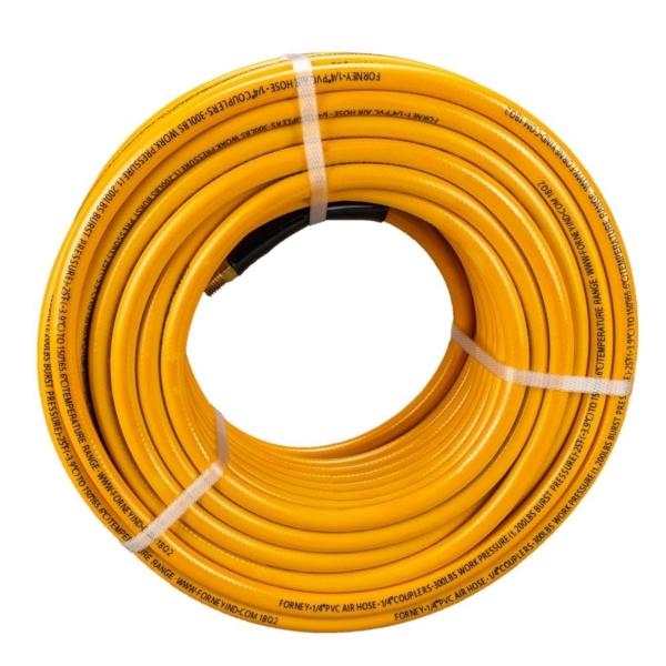 Picture of Forney 75414 Air Hose, 1/4 in ID, 100 ft L, MNPT, 300 psi Pressure, PVC, Orange