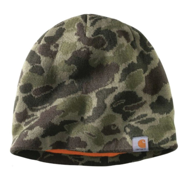Picture of Carhartt 102708-379 Montgomery Reversible Hat, Men's, One-Size, Acrylic, Burnt Olive Camouflage