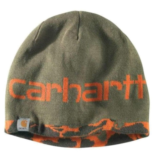 Picture of Carhartt 102708-823 Montgomery Reversible Hat, Men's, One-Size, Acrylic, Blaze Duck Camo