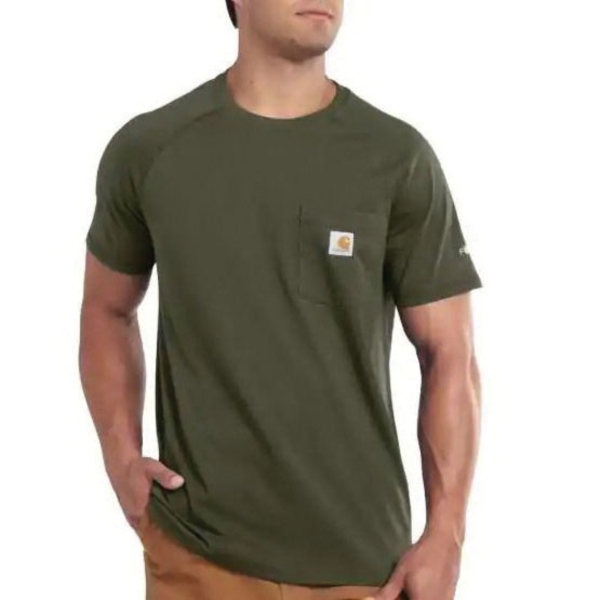 Picture of Carhartt 100410-316-2XLT T-Shirt, 2XL, Cotton/Polyester, Moss, Carhartt Patch Print/Pattern, Short Sleeve, Relaxed