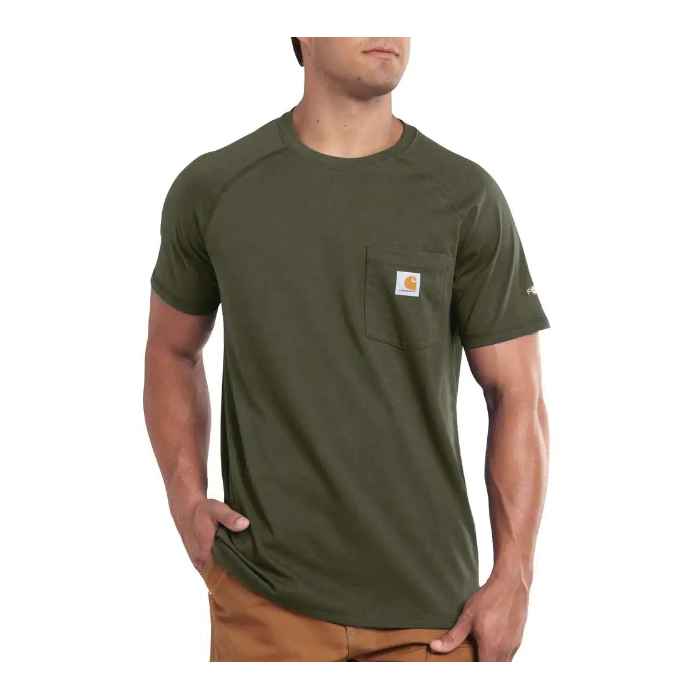 Picture of Carhartt 100410-316-2XL-R T-Shirt, 2XL, Cotton/Polyester, Moss, Carhartt Patch Print/Pattern, Short Sleeve