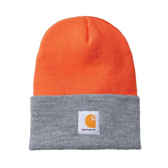 Picture of Carhartt A18-825 Watch Hat, Beanie, Men's, One-Size, Acrylic, Brite Orange/Heather Gray