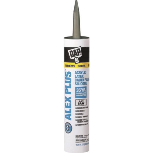 Picture of DAP ALEX PLUS 18118 Acrylic Latex Caulk, Slate Gray, 1 day Curing, 40 to 100 deg F, 10.1 oz Package, Cartridge