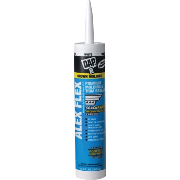 Picture of DAP ALEX FLEX 18542 Cauling Sealant, White, 72 hr Curing, 40 to 100 deg F, 10.1 oz Package, Cartridge