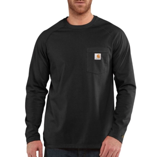 Picture of Carhartt 100393-026-R T-Shirt, M, Cotton/Polyester, Carbon Heather, Carhartt Patch Print/Pattern, Long Sleeve