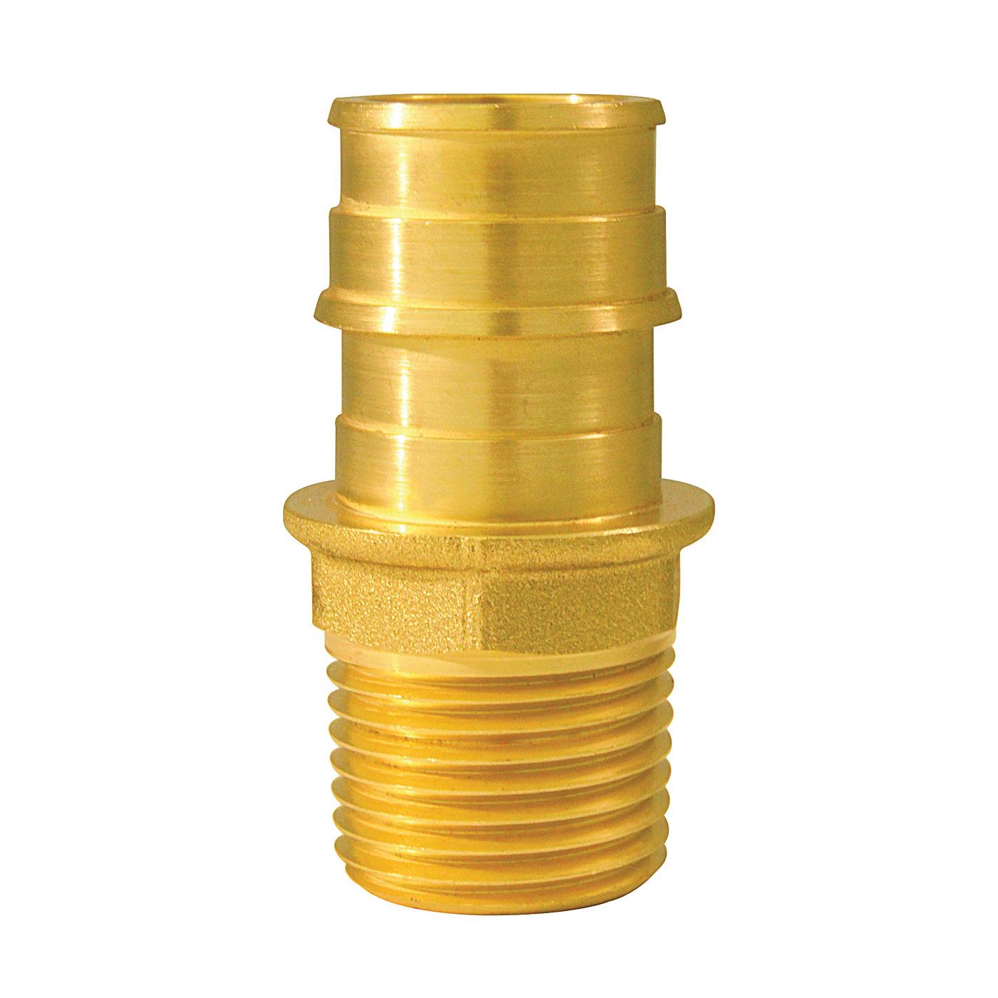 Picture of Apollo ExpansionPEX EPXMA3412 Pipe Adapter, 3/4 x 1/2 in, Barb x MPT, Brass, 200 psi Pressure