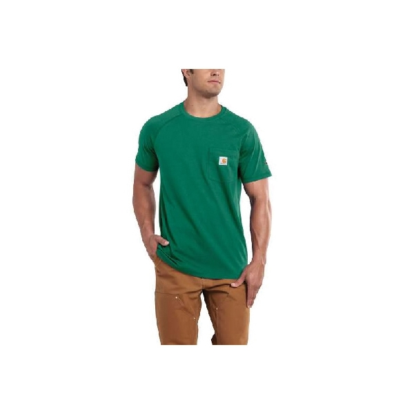 Picture of Carhartt 100410-313-L-R T-Shirt, L, Cotton/Polyester, Botanic Green, Carhartt Patch Print/Pattern, Short Sleeve