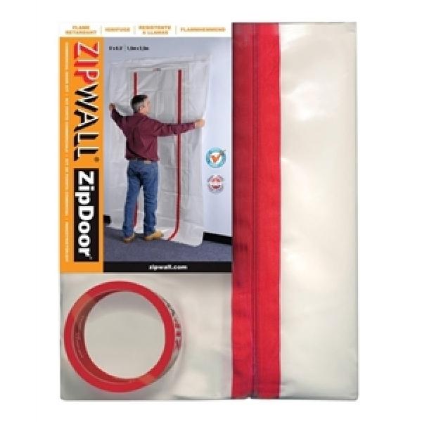 Picture of ZIPWALL ZipDoor ZDC Dust Barrier Door Kit, 4 ft L, 8 ft W, Plastic, Clear