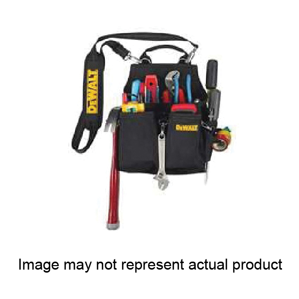 Picture of DeWALT DG5680 Electrician's Pouch, 14 -Pocket, Ballistic Poly, Black/Yellow, 9-3/4 in W, 12 in H, 6 in D