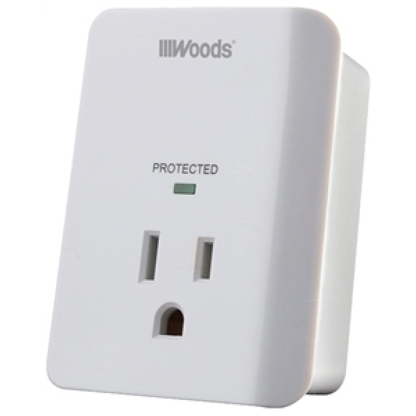 Picture of Woods 41008 Surge Protector, 120 VAC, 15 A, 1-Outlet, 1080 J Energy, White