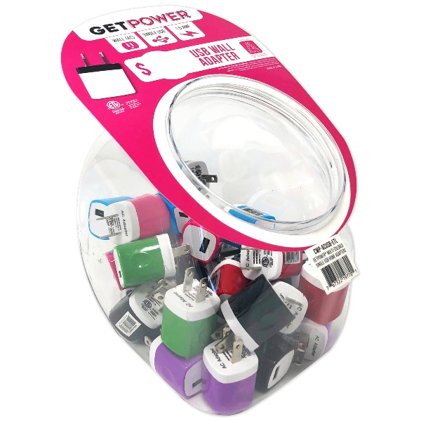 Picture of GetPower CWP-USBBOWL-EAC USB Wall Adapter, Black/Blue/Green/Pink/Purple/Red/White
