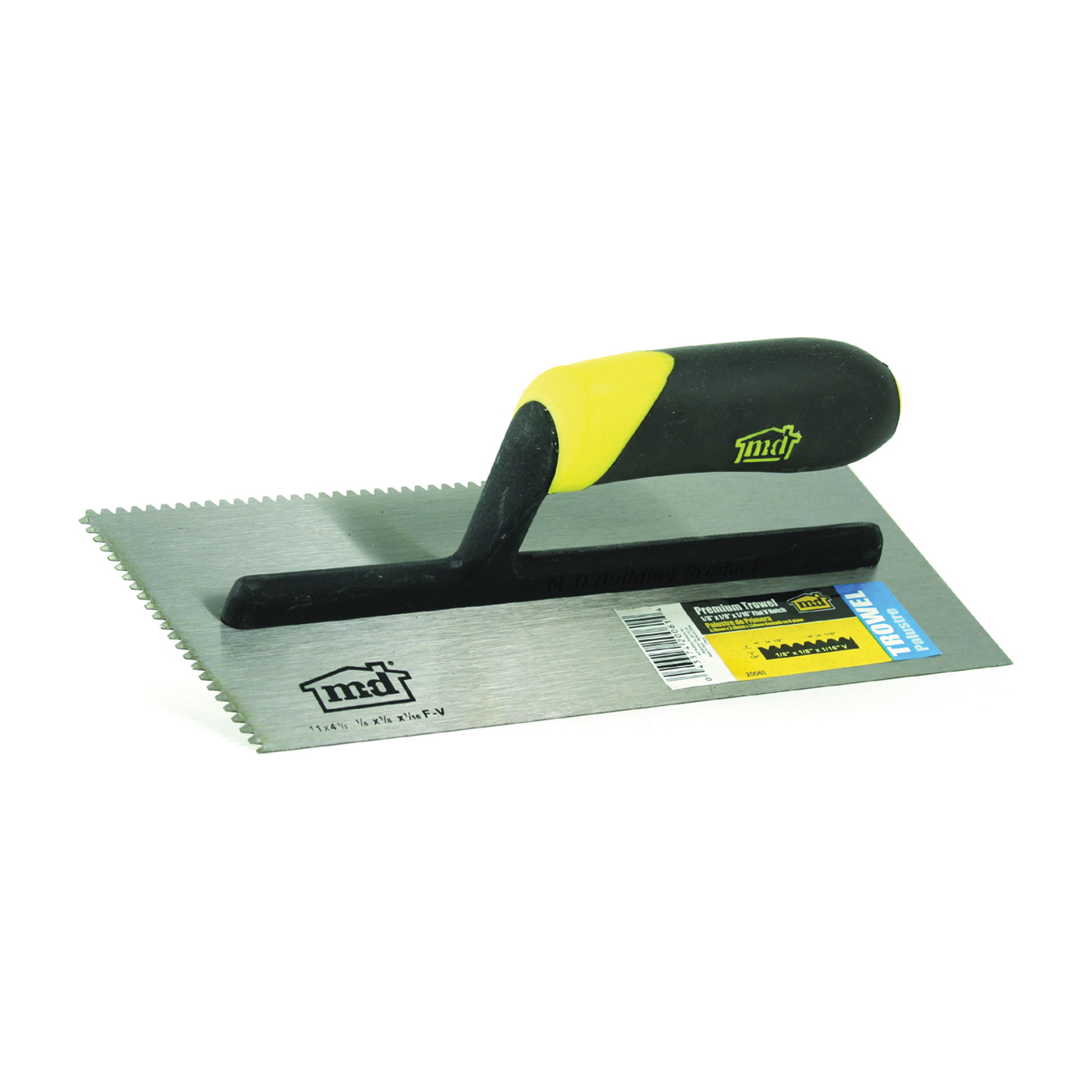 Picture of M-D 20061 Tile Installation Trowel, 11 in L, 4-1/2 in W, Flat V Notch, Comfort Grip Handle
