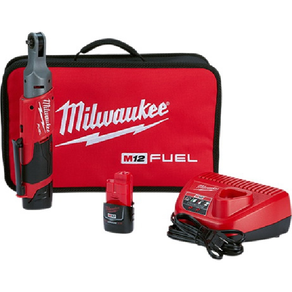 Picture of Milwaukee M12 FUEL 2556-22 Ratchet Kit, Kit, 12 V Battery, 2 Ah, 1/4 in Drive, 40 ft-lb, 250 rpm Speed