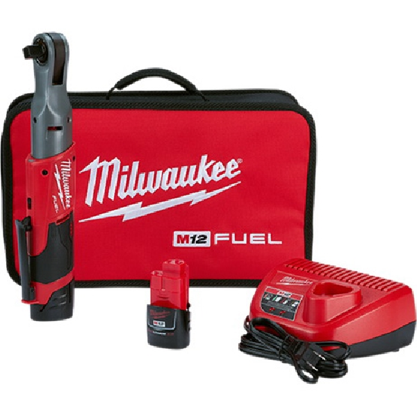 Picture of Milwaukee M12 FUEL 2558-22 Ratchet Kit, Kit, 12 V Battery, 2 Ah, 1/2 in Drive, 60 ft-lb, 175 rpm Speed