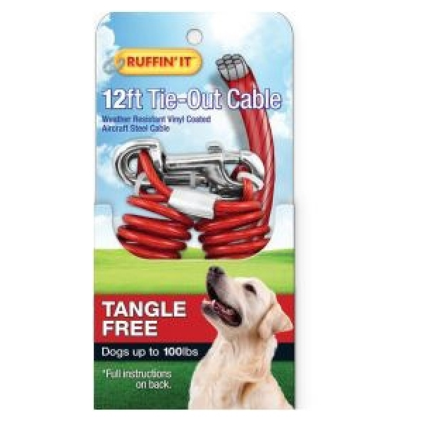 Picture of RUFFIN'IT 29712 Tie-Out Cable, Tangle-Free, Swivel Snap End, 12 ft L Belt/Cable, Steel, Red