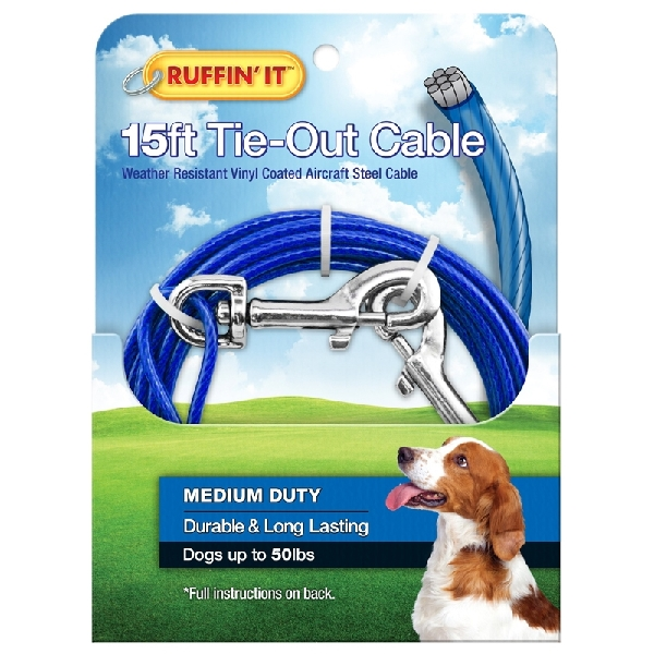 Picture of RUFFIN'IT 29115 Cable Tie-Out, Medium-Duty, Swivel Snap End, 15 ft L Belt/Cable, Steel, Blue