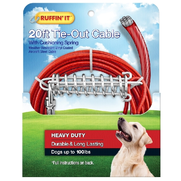 Picture of RUFFIN'IT 29220 Cable Tie-Out with Cushioning Spring, Heavy-Duty, Swivel Snap End, 20 ft L Belt/Cable, Steel, Red