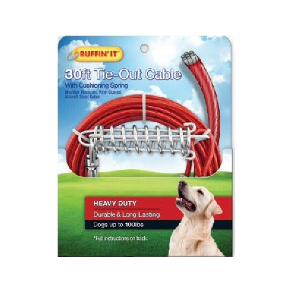 Picture of RUFFIN'IT 29230 Cable Tie-Out with Cushioning Spring, Heavy-Duty, Swivel Snap End, 30 ft L Belt/Cable, Steel, Red