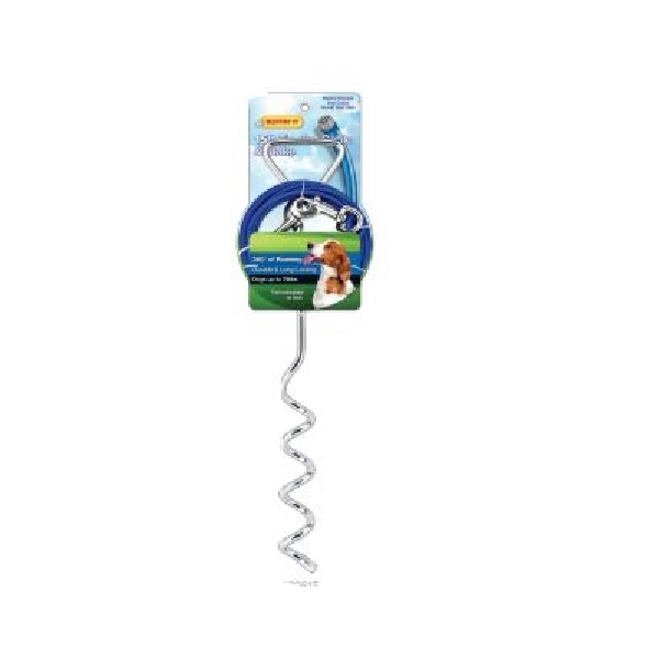 Picture of RUFFIN'IT 29515 Corkscrew Stake and Cable Tie-Out, Swivel Snap End, 15 ft L Belt/Cable, Steel, Blue