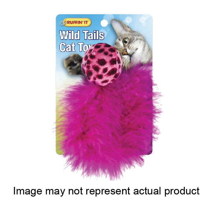 Picture of RUFFIN'IT 32027 Plush Ball with Feather Tail, Assorted