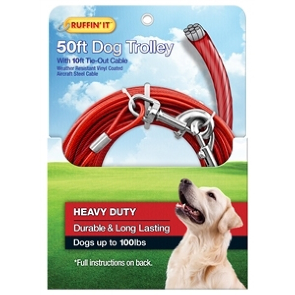 Picture of RUFFIN'IT 29450 Tie-Out Cable with Dog Trolley, Swivel Snap End, 10 ft L Belt/Cable, Steel, Red