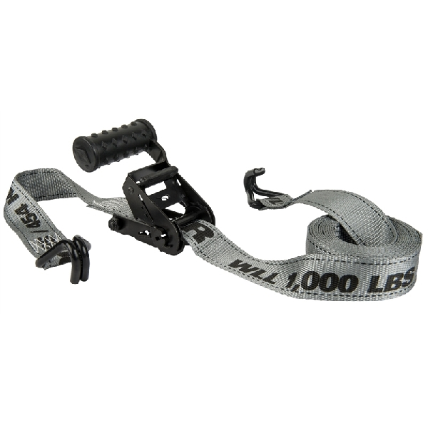 Picture of KEEPER Diamond 45545 Ratchet Tie-Down, 1-1/2 in W, 12 ft L, Gray, 1000 lb Working Load, J-Hook End
