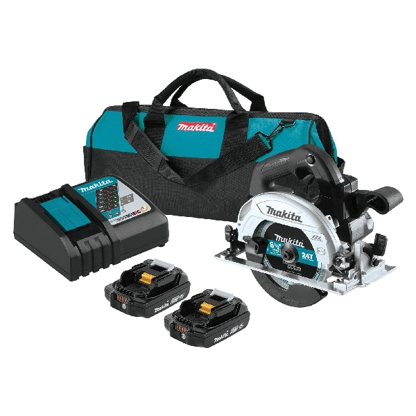 Picture of Makita XSH04RB Circular Saw Kit, Kit, 18 V Battery, 2 Ah, 6-1/2 in Dia Blade, 1-5/8 to 2-1/4 in Cutting Capacity