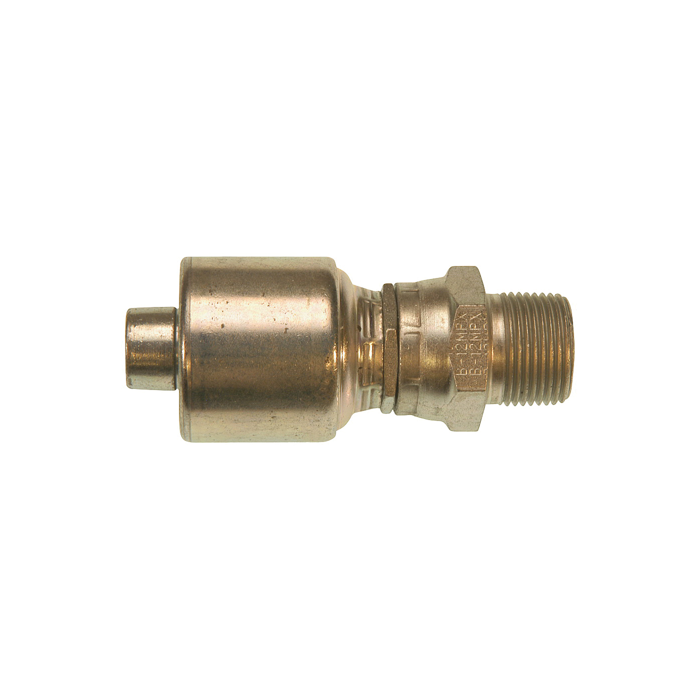 Picture of GATES MegaCrimp G25105-1212 Hose Coupling, 3/4-14, Crimp x NPTF, Straight Angle, Steel, Zinc