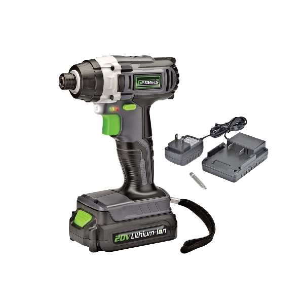 Picture of Genesis GLID20A Impact Driver, Kit, 20 V Battery, 1.5 Ah, 1/4 in Drive, Hex Drive, 0 to 3800 ipm IPM