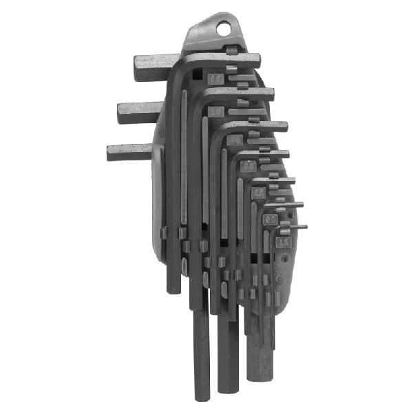Picture of Vulcan TW-050-03 Hex Key Set, 10 -Piece, Chrome Vanadium Steel, Black, Specifications: Short Arm, Metric Measurement
