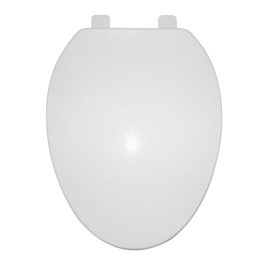 Picture of ProSource Q-019-WH Toilet Seat, Elongated, Polypropylene, White, Close Hinge