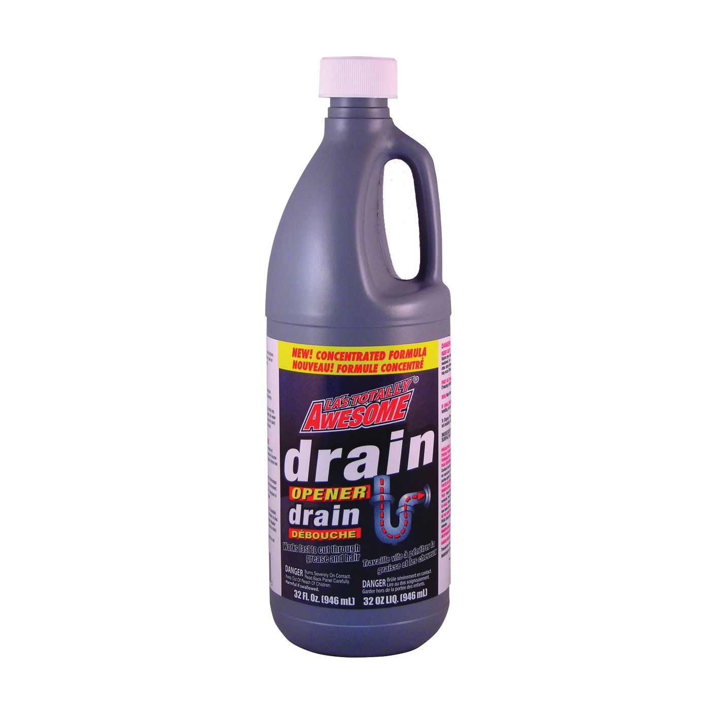Picture of LA's TOTALLY AWESOME 216 Drain Opener, Liquid, Clear, Light Lemon, 32 oz Package, Bottle