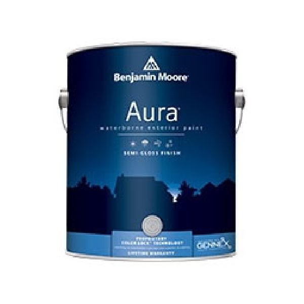 Picture of Benjamin Moore Aura 063201-001 Exterior Paint, Semi-Gloss, White, 1 gal Package