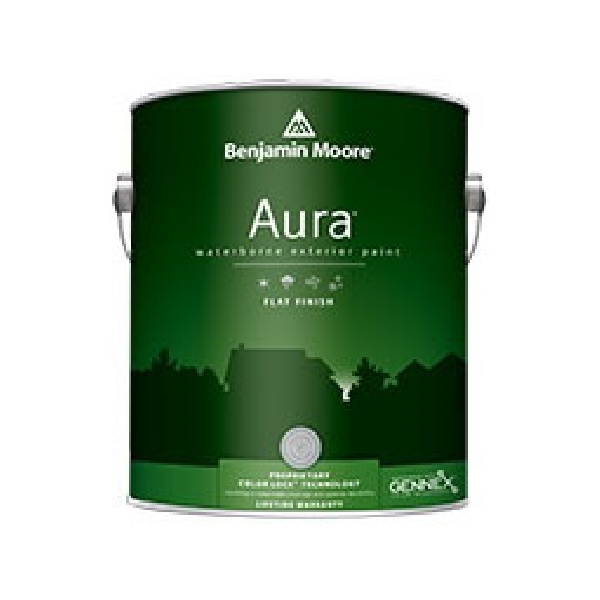 Picture of Benjamin Moore Aura 062901-001 Exterior Paint, Flat, White, 1 gal Package