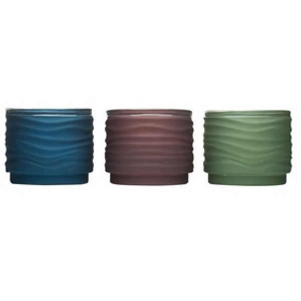Picture of TIKI 1417043 Lavish Woodland Frosted Votive Candle, Army Green/Burgundy/Navy Blue, Citronella, 50 hr Burn Time