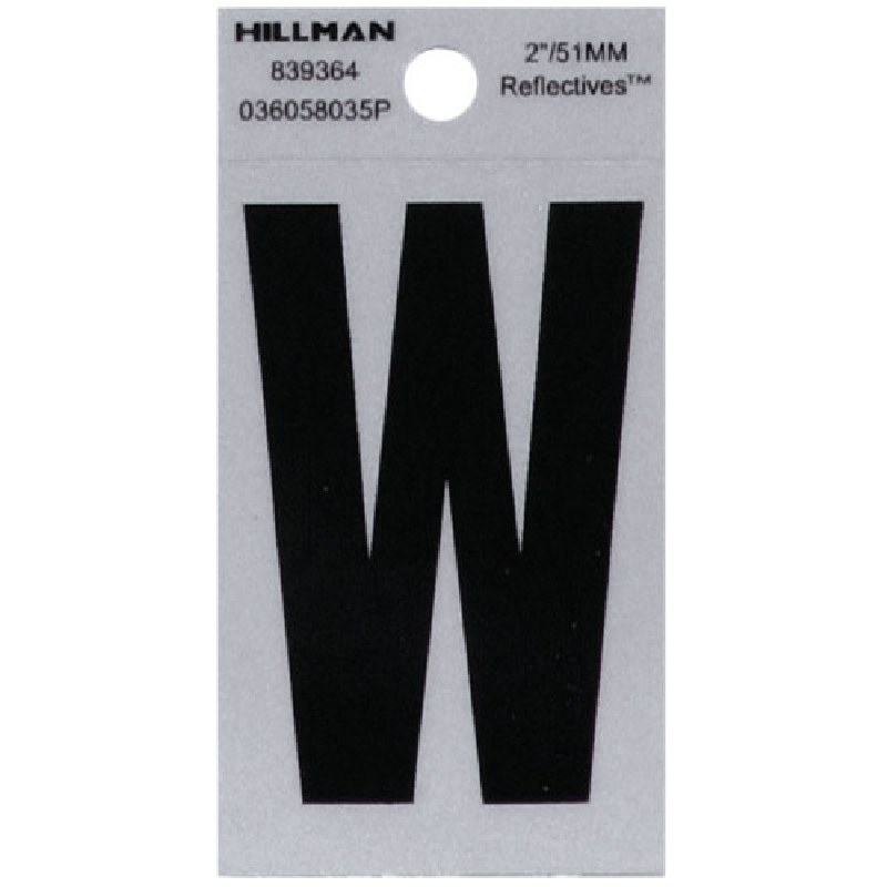 Picture of HILLMAN 839364 Self-Adhesive Letter, Character: W, 2 in H Character, Black Character, Silver Background, Mylar, 1