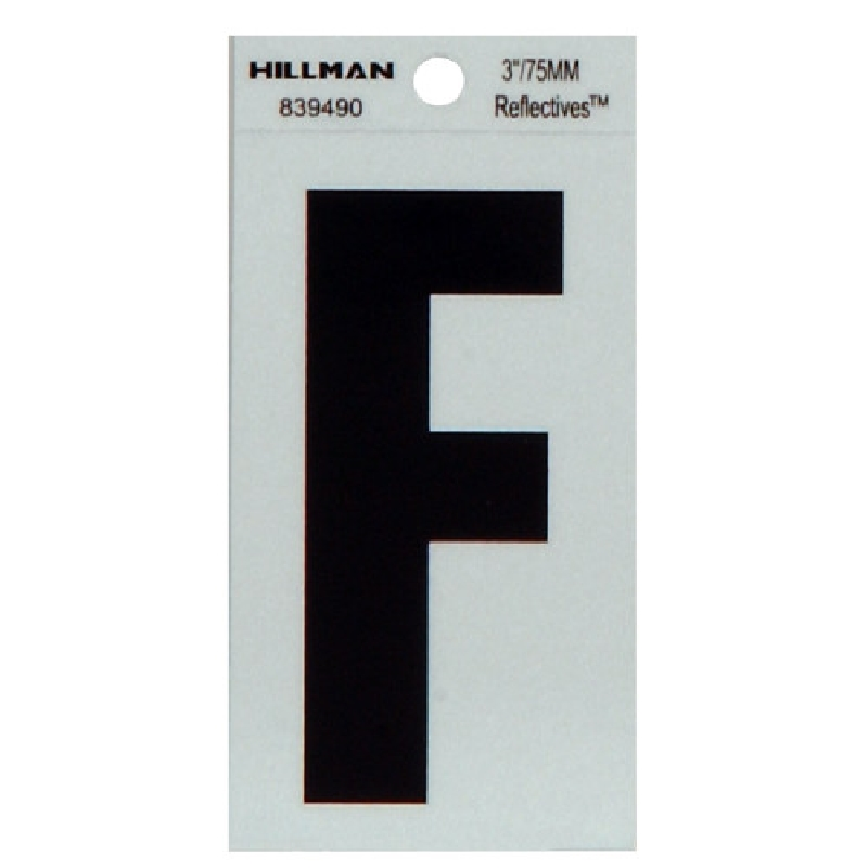 Picture of HILLMAN 839490 Self-Adhesive Letter, Character: F, 3 in H Character, Black Character, Silver Background, Mylar, 1