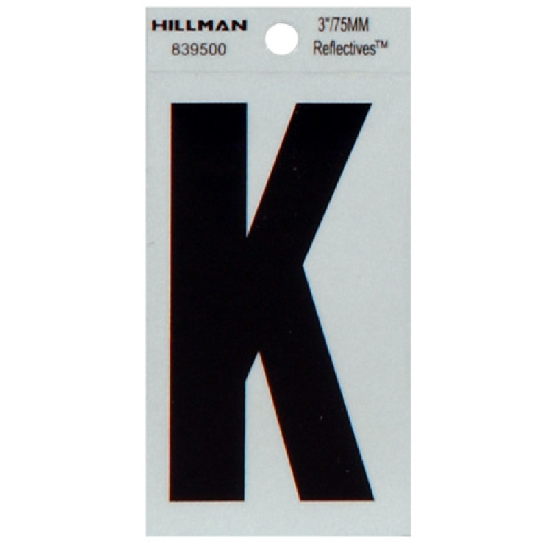 Picture of HILLMAN 839500 Self-Adhesive Letter, Character: K, 3 in H Character, Black Character, Silver Background, Mylar, 1