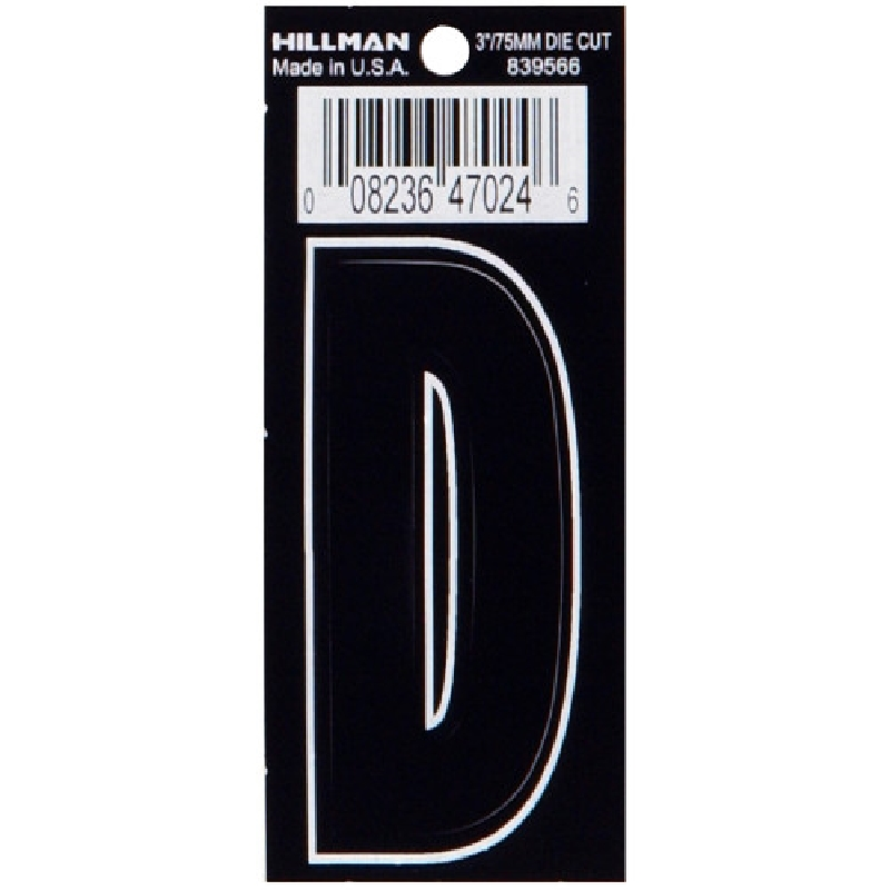 Picture of HILLMAN 839566 Adhesive Letter, Character: D, 3 in H Character, Black Character, Vinyl, 1, Pack