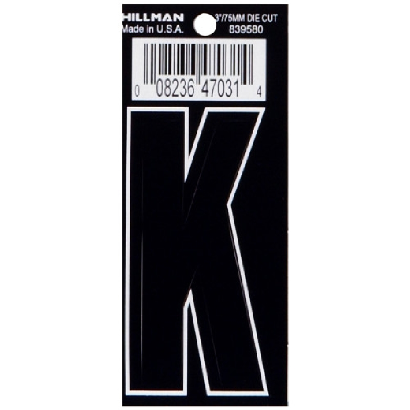 Picture of HILLMAN 839580 Adhesive Letter, Character: K, 3 in H Character, Black Character, Vinyl, 1, Pack