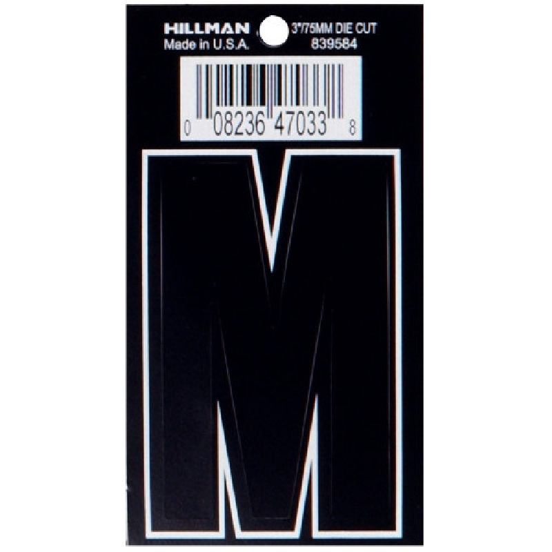 Picture of HILLMAN 839584 Adhesive Letter, Character: M, 3 in H Character, Black Character, Vinyl, 1, Pack